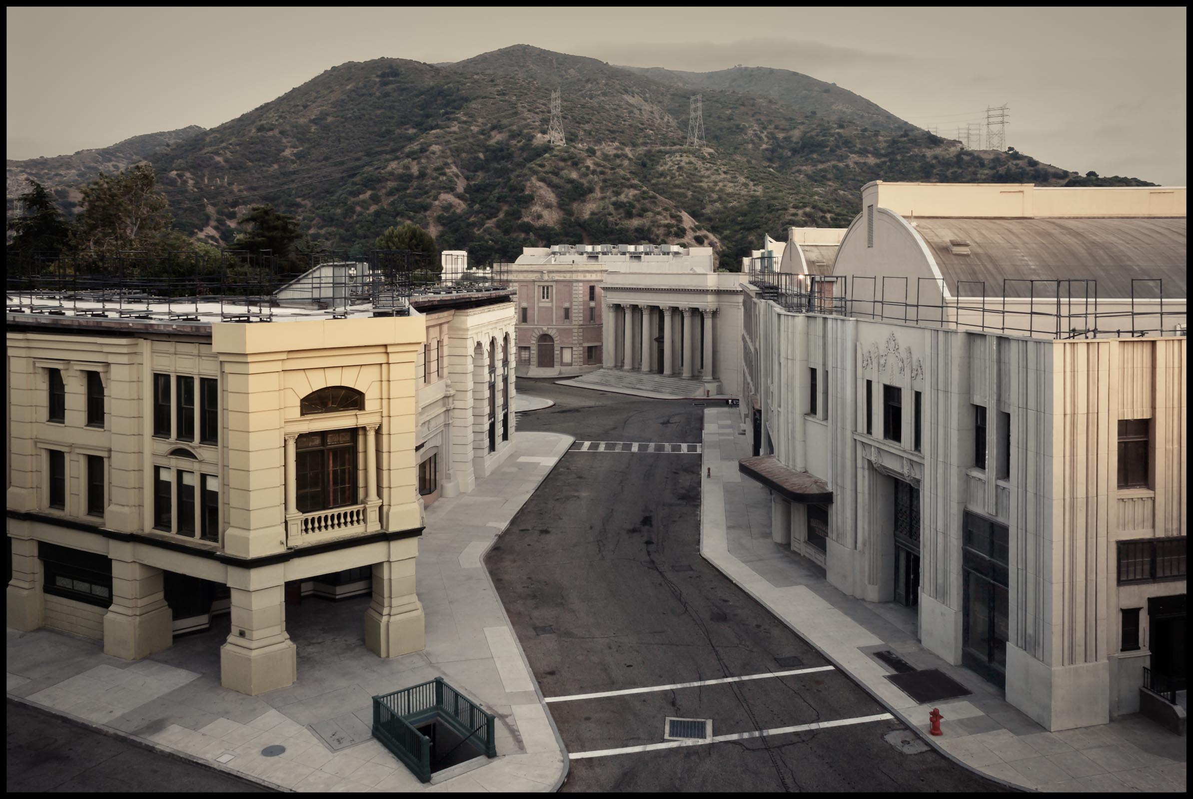 Warner Bros Studios, Overhead view of backlot at twilight - Burbank, CA - Los Angeles Magazine