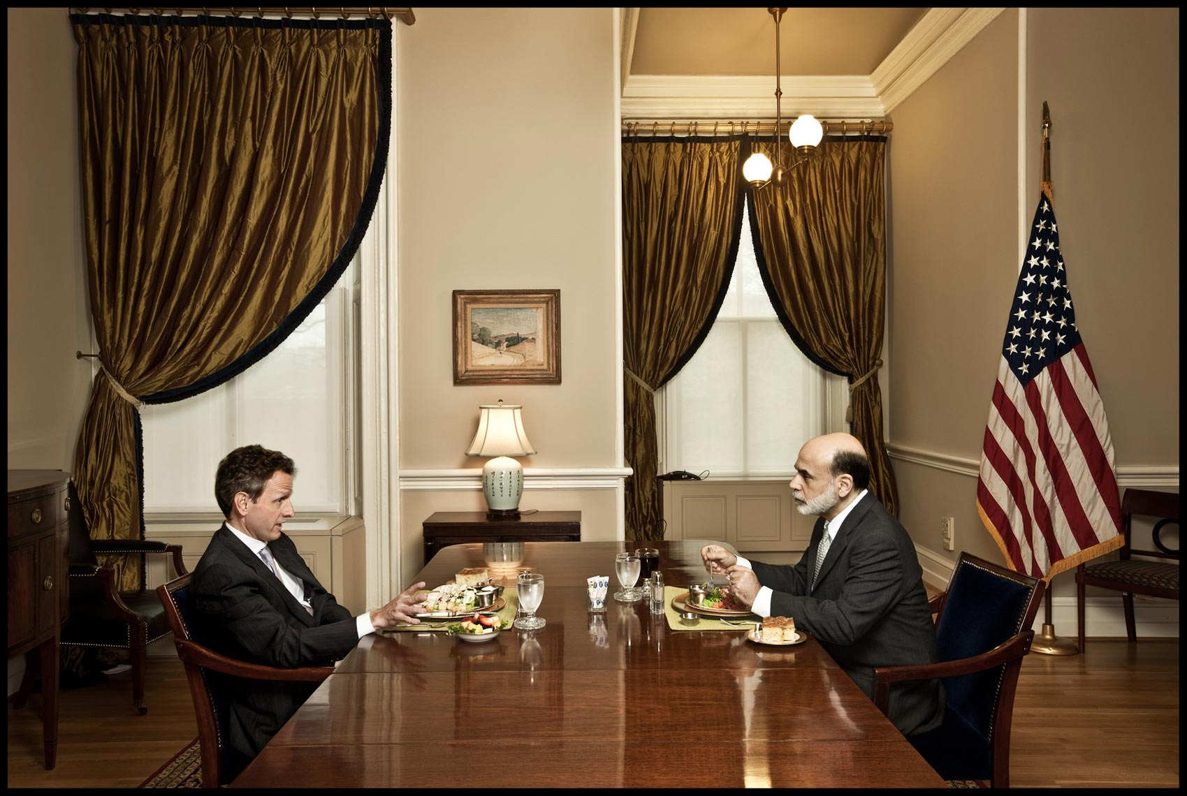 Treasury Secretary Geithner and Fed Chairman Bernanke Discuss Issues over their weekly lunch - Washington, D.C. - Time Magazine (Man of The Year)