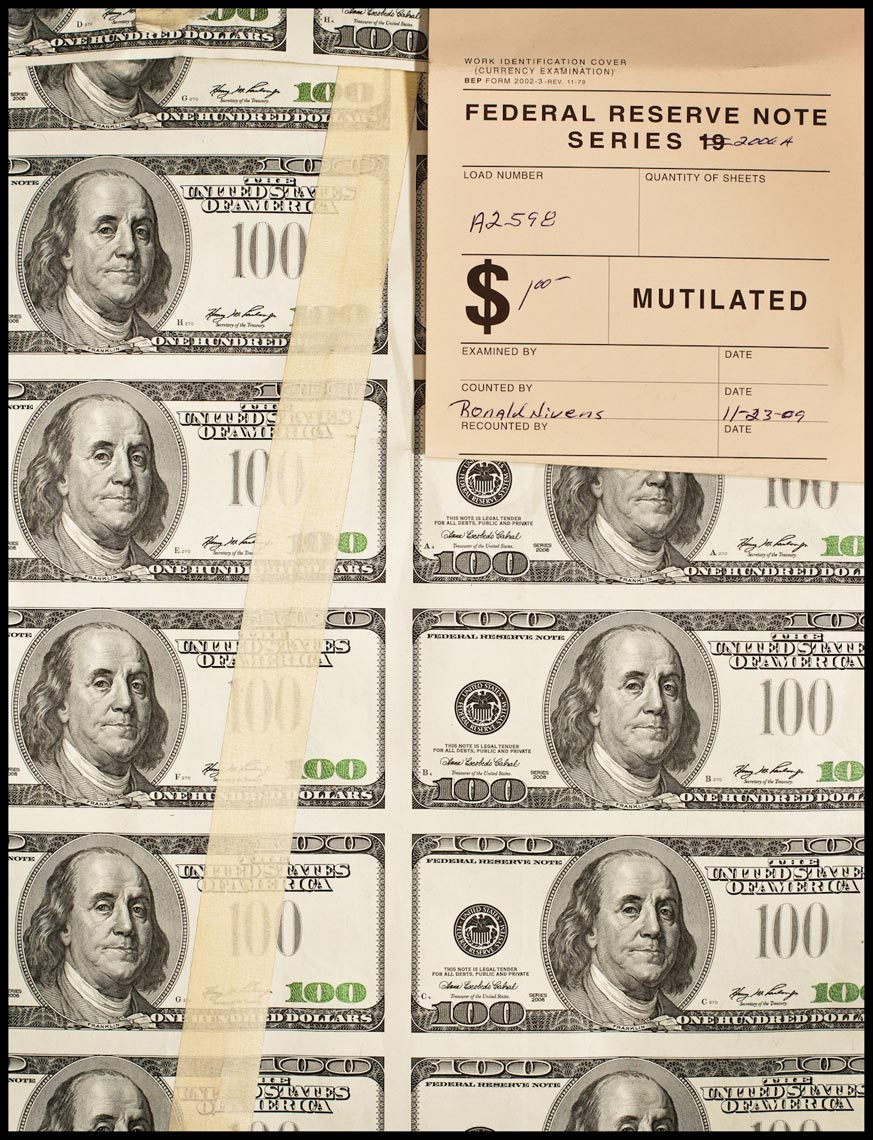 Hundred Dollar Bills Awaiting Destruction - Washington, D.C. - Time Magazine (Man of The Year)