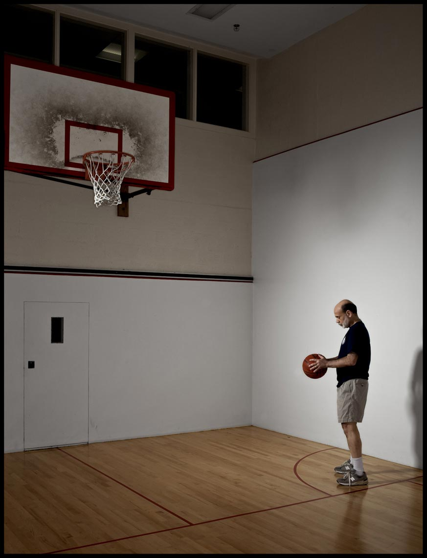 Chairman Bernanke on Basketball Court in the Basement of the Fed - Washington, D.C. - Time Magazine (Man of The Year)